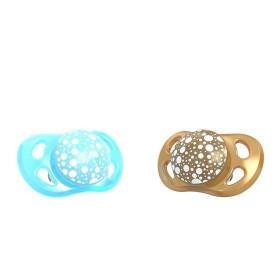 Tétine Twistshake Pacifier Bleu Perle et Cuivre 6M+ x2 disponible sur Allobiberons.fr