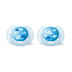 2 Pacifier Avent Ultra Soft Rocket and Planet - 6-18 mois chez Allobiberons.fr