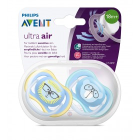 Sucettes Avent Ultra Air Animal 18 mois + Lion et Ours Bleu chez Allobiberons.fr