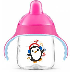 Tasse d'apprentissage Pingouin Rose 260 ml - 12m+ Philips Avent