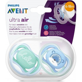 2 Sucettes Avent Ultra Air 6-18 mois - Hello/Visage
