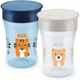 NUK Magic Cup Sippy Cup 360° 230 ml | Tiger (Blue) & Bear