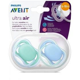 Philips Avent - Ultra AIR Schnuller - 6/18 Monate - Blau - 2 Stück