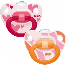 2 NUK Classic Girls Pacifiers Pink 6-18 months