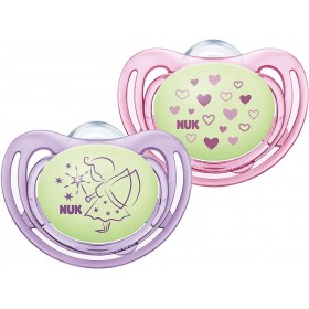 2 NUK Freestyle Night Phosphorescent Pink Pacifiers 18-36 months