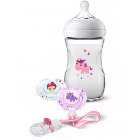Gift Pack Avent Baby Bottle Natural et Soothers Unicorn
