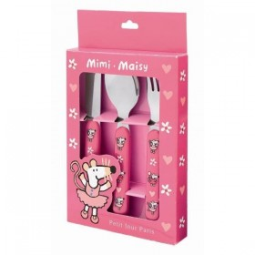 Set of 3 cutlery Mimi la Souris Rose