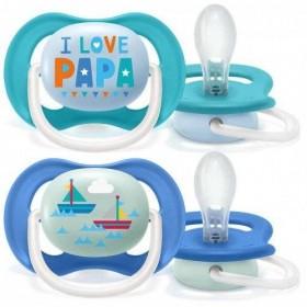 Philips Avent Happy Papa Bateau Blue Pacifiers 6-18 months