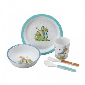 5-piece children's meal box Pierre Rabbit Blue