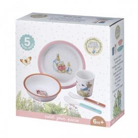 5 Piece Children's Meal Set Pierre Rabbit Pink