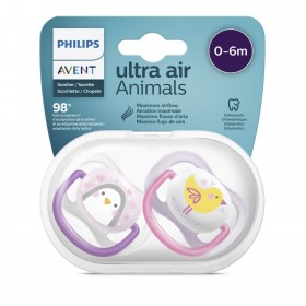 Avent Ultra Air Pacifiers 0-6 months Girl Chick Penguin