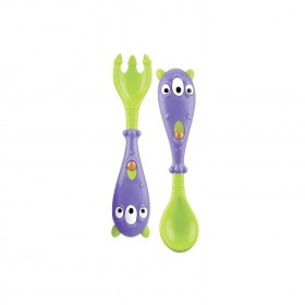 Nuby - Monster Learning Spoon and Fork - 6m +