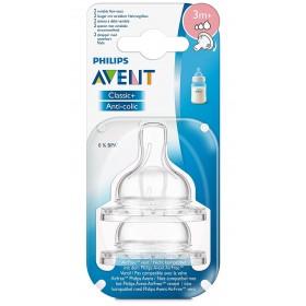 Philips Avent Anti-colic Klassik+ Sauger, variabler Nahrungsfluss 3m+, 2er Pack