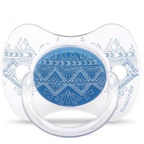 Suavinex Sucette ETHNIC 4/18M Silicone Réversible Bleu Foncé