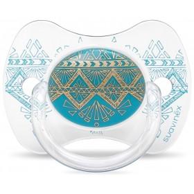 Suavinex Sucette ETHNIC +18M Silicone Réversible Turquoise