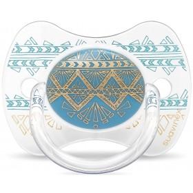 Suavinex Sucette ETHNIC 4/18M Silicone Réversible Turquoise